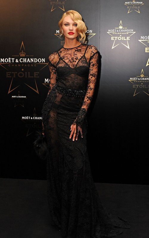 Candice Swanepoel in TOM FORD Chantilly Lace Evening Dress ...
