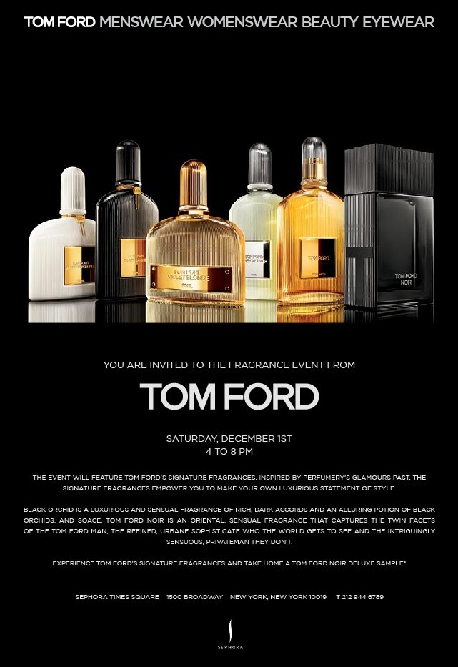December 1st: TOM FORD Fragrance Event in Times Square NYC TF fragrance event sephora